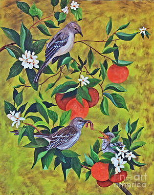 Mockingbird Painting - Florida Symbols by Terri Mills