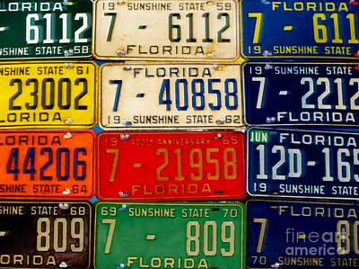 Photograph - Florida Tags by Tim Townsend