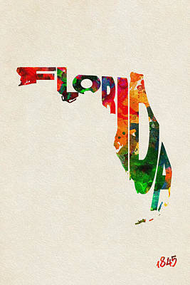 Vintage Map Digital Art - Florida Typographic Watercolor Map by Ayse Deniz