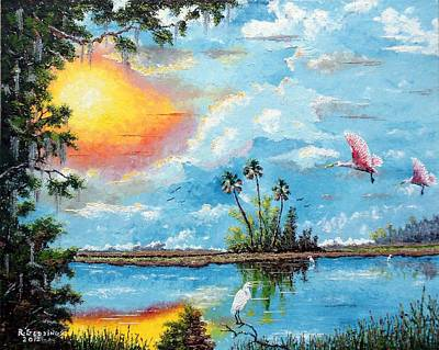 Spoonbill Mixed Media - Florida Wilderness Oil Using Knife by Riley Geddings
