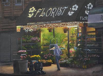 Greenpoint Painting - Florist by Alex Vishnevsky