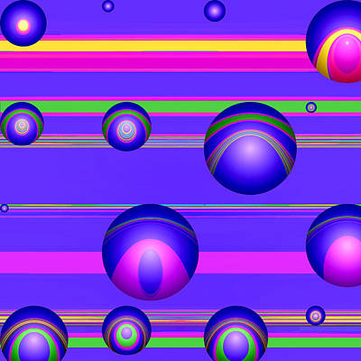 Digital Art - Flotation Devices - Grape by Wendy J St Christopher