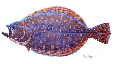 Salmon Painting - Flounder by Carey Chen