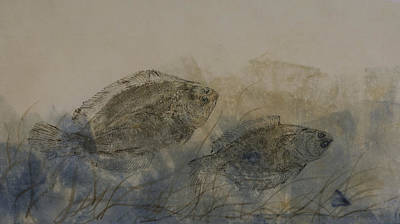Mixed Media - Flounder Duo by Nancy Gorr