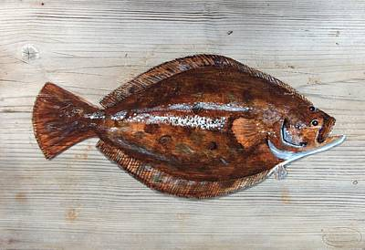 Flounder Painting - Flounder Plank by Haldy Gifford