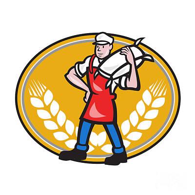 Flour Miller Carry Sack Wheat Oval Art Print by Aloysius Patrimonio