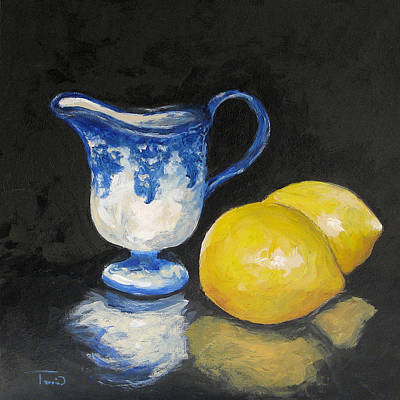 Still Life Painting - Flow Blue Creamer And Lemons by Torrie Smiley