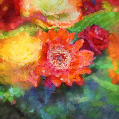 Floral Abstractions Painting - Flower Abstract by Lutz Baar