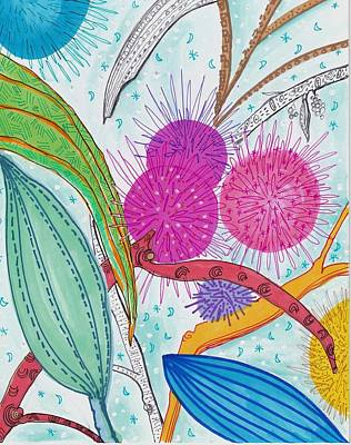 Drawing - Flower Abstraction by Rosalina Bojadschijew