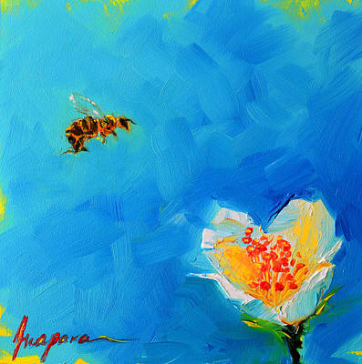 Summer Fun Painting - Flower And A Bee by Patricia Awapara