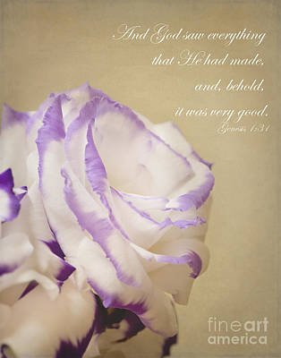 Religious Art Photograph - Flower And Bible Verse by Ivy Ho
