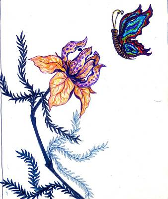 Drawing - Flower And Butterfly by Rae Chichilnitsky