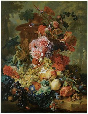 Flower And Fruit Piece Art Print by Jan Van Huysum