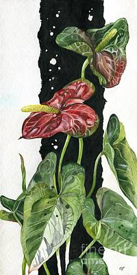 Art Print featuring the painting Flower Anthurium 01 Elena Yakubovich by Elena Yakubovich
