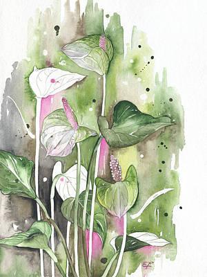 Flower Anthurium 04 Elena Yakubovich Art Print by Elena Yakubovich