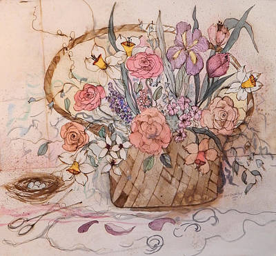 James Earl Ray Painting - Flower Basket by Anna Sandhu Ray