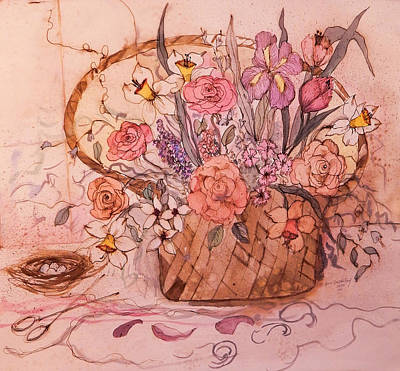 James Earl Ray Painting - Flower Basket II by Anna Sandhu Ray