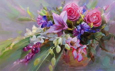 Lilies Royalty-Free and Rights-Managed Images - Flower baskets for the beloved. by Alexey Shalaev
