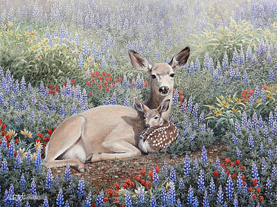 Mule Deer Fawn Painting - Flower Bed by Mike Stinnett