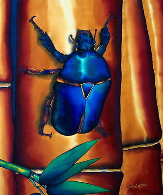 Batik Painting - Flower Beetle And Bamboo by Daniel Jean-Baptiste