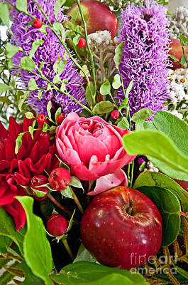 Photograph - Flower Bouquet And Red Apple by Valerie Garner