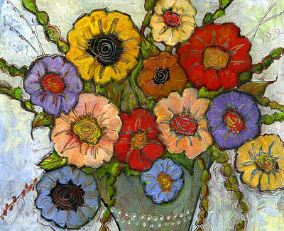 Colorful Flowers Painting - Flower Bouquet by Blenda Studio