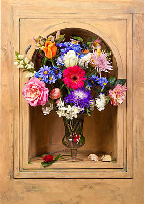 Flower Bouquet On Closed Niche Art Print by Levin Rodriguez