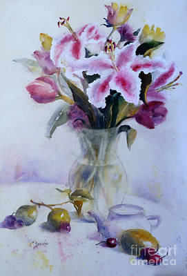 Painting - Flower Bouquet With Teapot And Fruit by Carolyn Jarvis