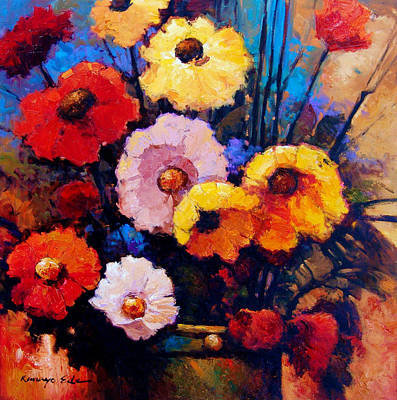 Painting - Flower Bucket - Colorful Red Yellow And Pink Flowers. by Kanayo Ede