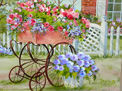 Painting - Flower Cart by Becky Taylor