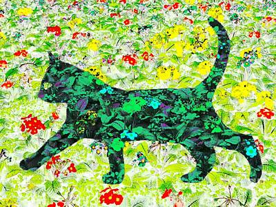 Digital Art - Flower Cat by Barbara Moignard