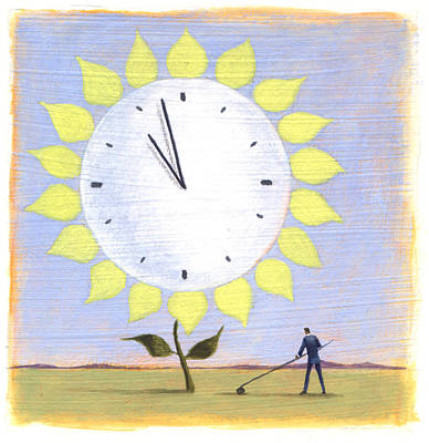 Saving Painting - Flower Clock by Steve Dininno