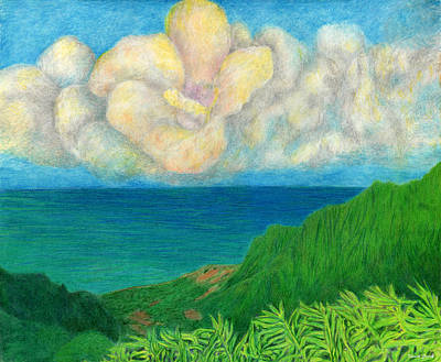 Island Drawing - Flower Cloud by Kenneth Grzesik