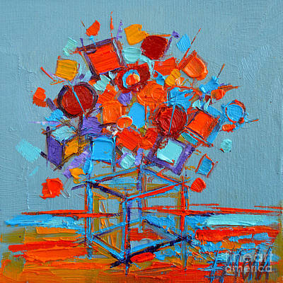 Modern Abstract Painting - Flower Cube by Mona Edulesco