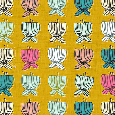 Flower Cups Yellow Art Print by Sharon Turner