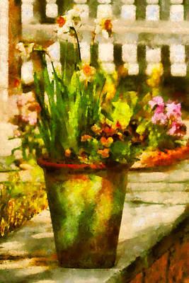 Daffodils Digital Art - Flower - Daffodil - A Pot Of Daffodil's by Mike Savad