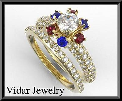 14k Gold Jewelry - Flower Diamond Engagement Ring And Wedding Ring With Ruby And Sapphire by Roi Avidar