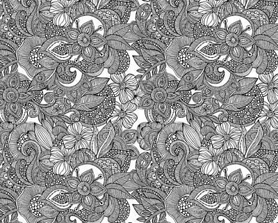 Doodles Drawing - Flower Doodles by Valentina Harper