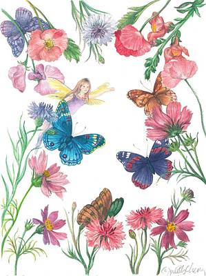 Painting - Flower Fairy Illustrated Butterfly by Judith Cheng