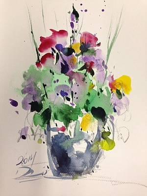 Vase Of Flowers Drawing - Flower by Farid Ahmadi