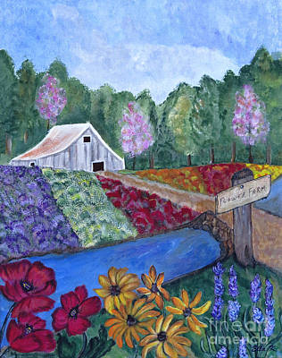 Poppies Field Drawing - Flower Farm -poppies Daisies Lavender Whimsical Painting by Ella Kaye Dickey