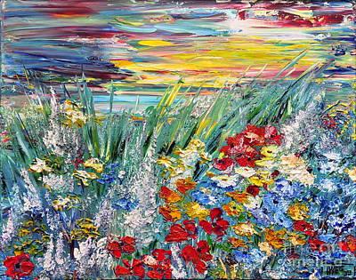 Art Print featuring the painting Flower Field by Teresa Wegrzyn