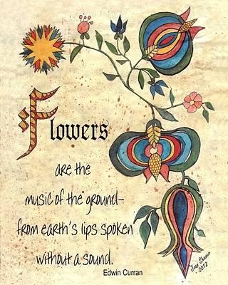 Fraktur Painting - Flower Fraktur by Joan Shaver