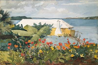 Winslow Homer Seascape Painting - Flower Garden And Bungalow by Celestial Images