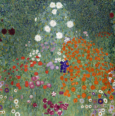 White Daisy Painting - Flower Garden by Gustav Klimt