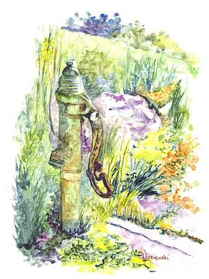 Painting - Flower Garden Hand Pump by Carol Wisniewski