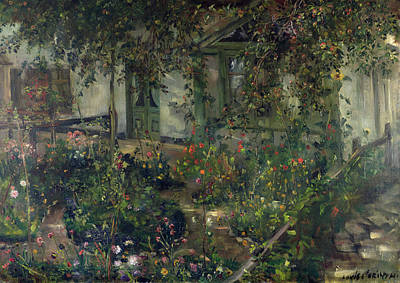 Back Yard Painting - Flower Garden In Bloom by Lovis Corinth