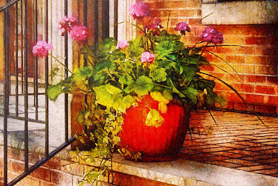 Pink Geraniums Photograph - Flower - Geraniums - One Fine Sunny Day by Mike Savad