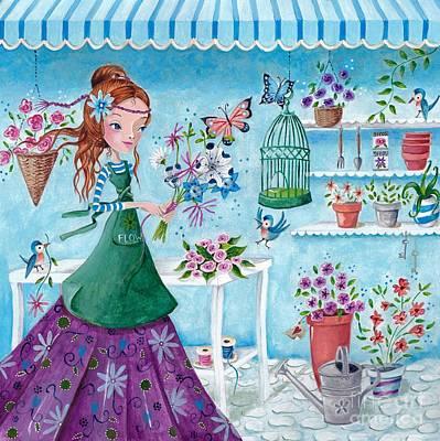 Big Eyed Girl Painting - Flower Girl by Caroline Bonne-Muller