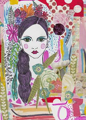 Watercolor With Pen Mixed Media - Flower Girl Collage by Rosalina Bojadschijew